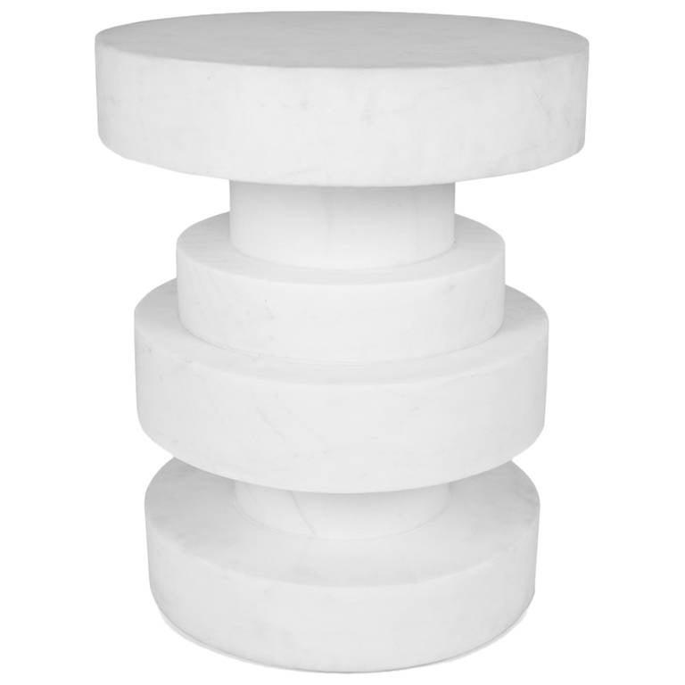 Apollo Stool In White Calacatta Marble For Sale At 1stdibs