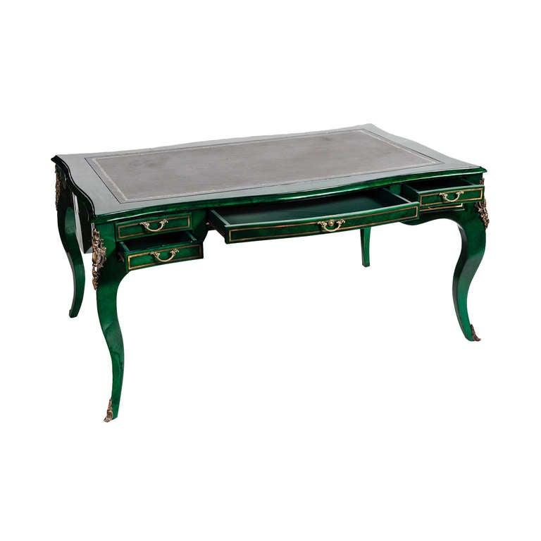 A Louis XV Gilt Bronze Emerald Lacquered Desk For Sale