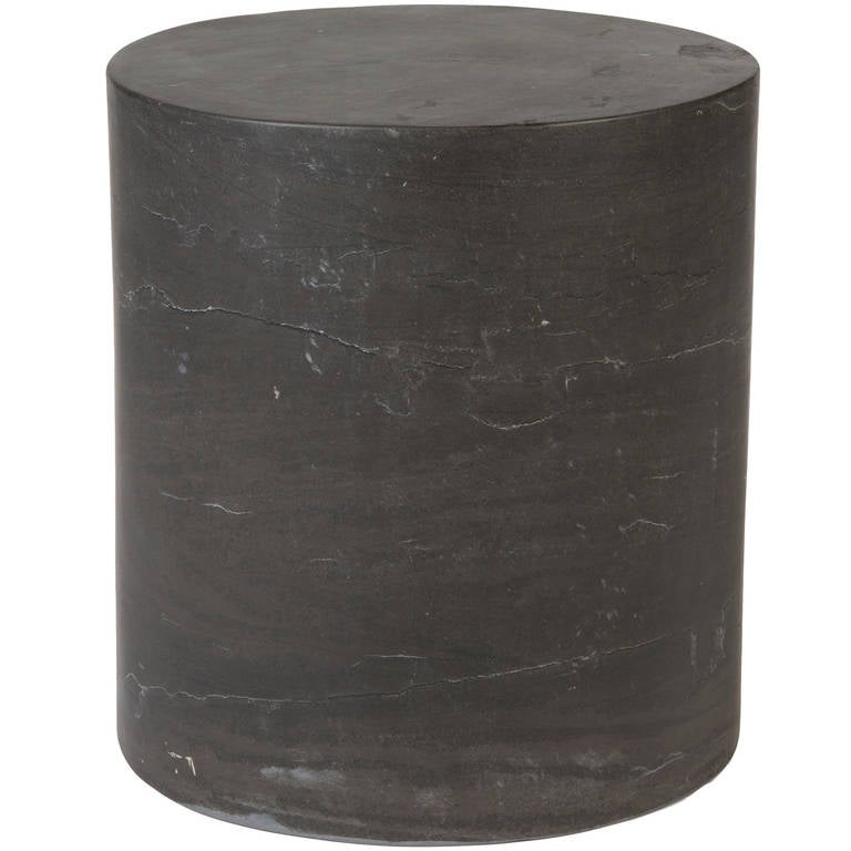 Monolith Side Table in Absolute Black Marble For Sale