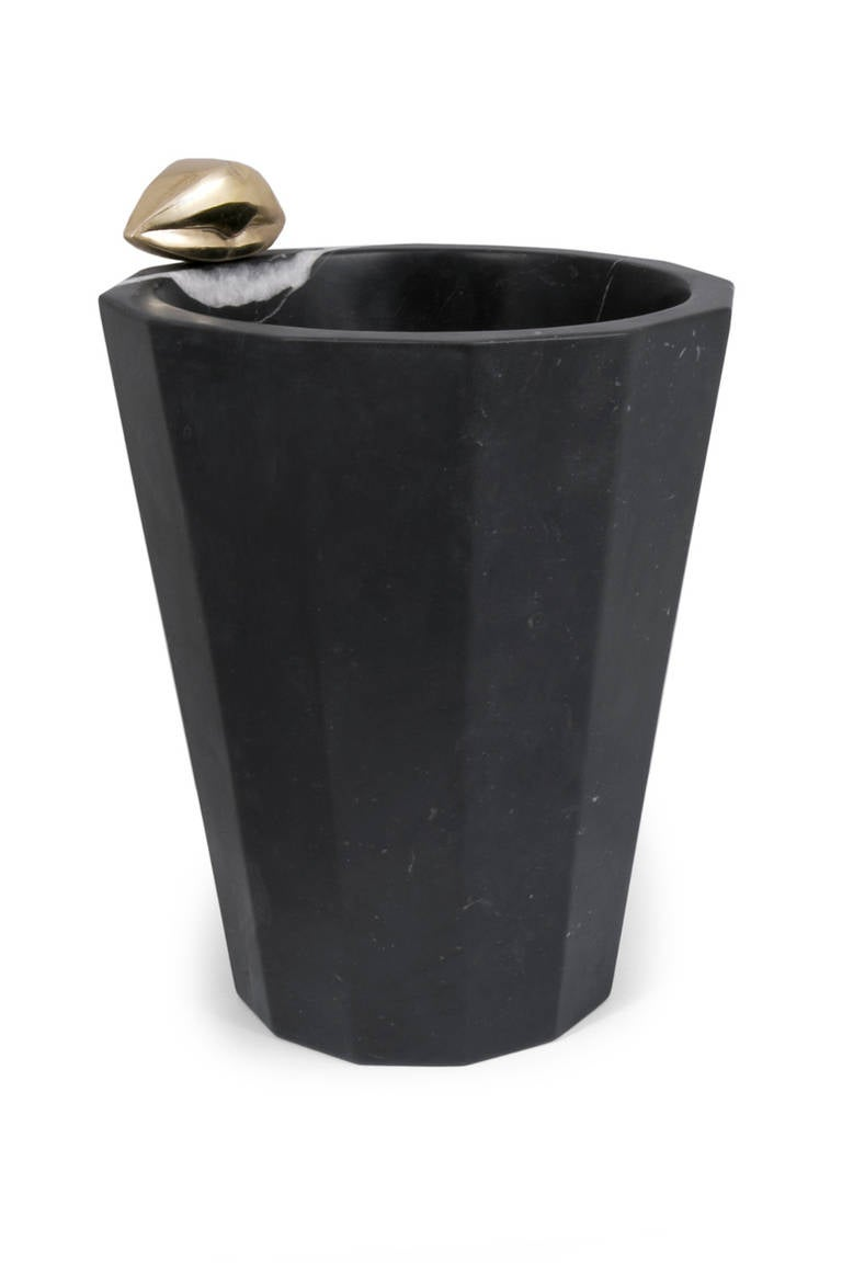 Liaison Champagne Bucket In Negro Marquina Marble For Sale