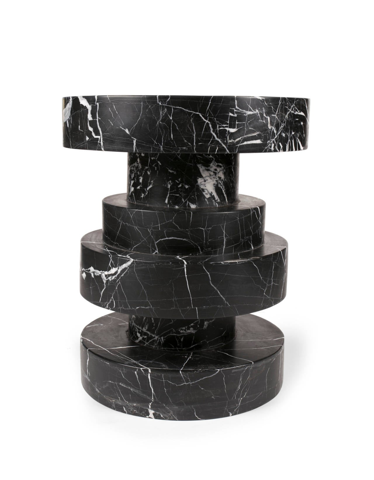 Apollo Stool In Negro Marquina Marble For Sale At 1stdibs