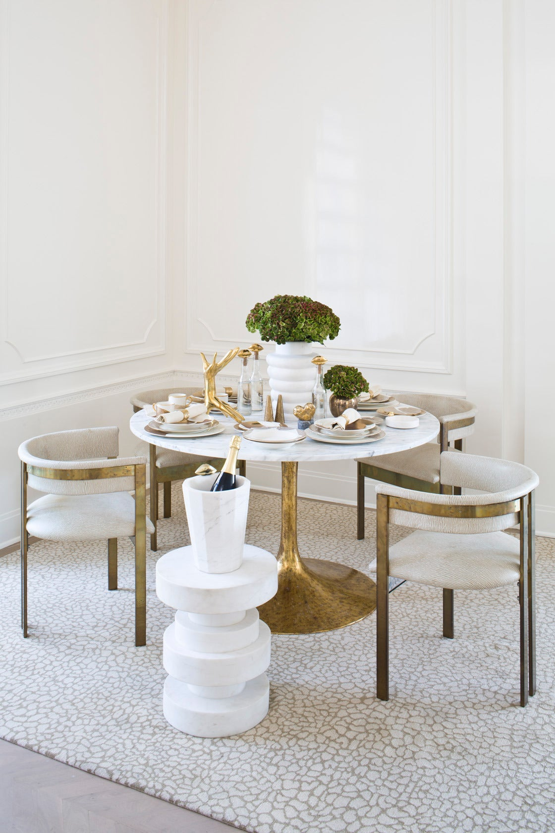 Iris Dining Table In Carrera Marble At 1stdibs