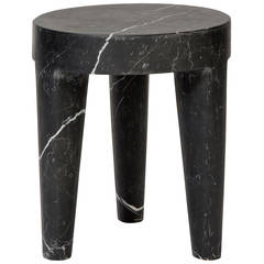 Large Tribute Stool in Negro Marquina Marble