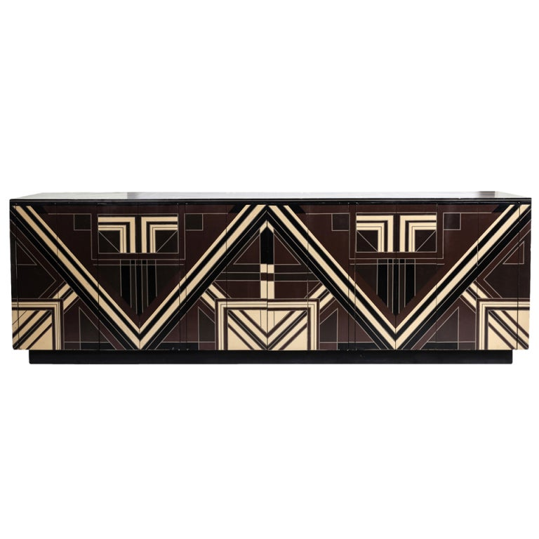 A Rare 1970s Deco Server with Geometric Lacquer Detailing