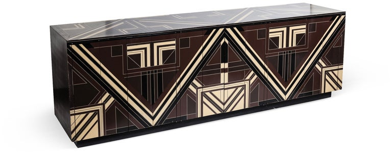 A Rare 1970s Deco Server with Geometric Lacquer Detailing image 2