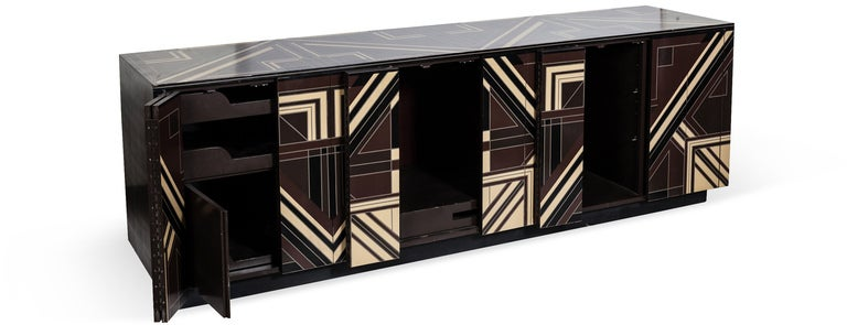A Rare 1970s Deco Server with Geometric Lacquer Detailing image 3