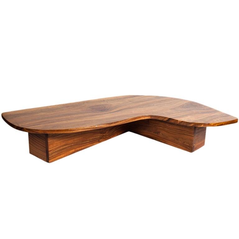 Solid Slab L Shaped Walnut Low Table At 1stdibs