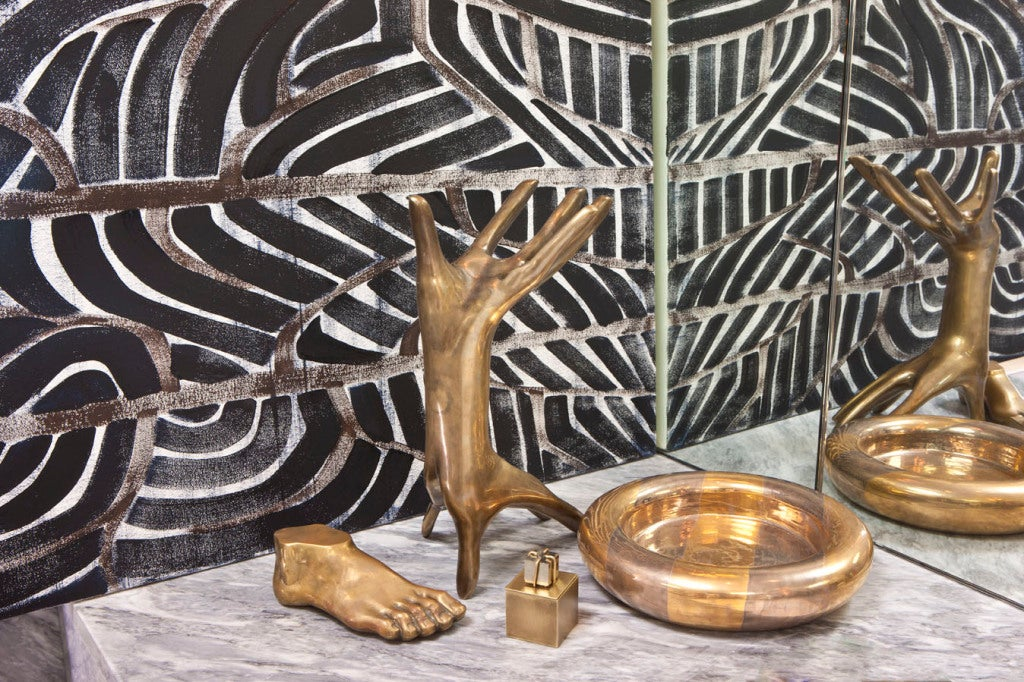 American Solid Brass Patina Double Hand Sculpture by Kelly Wearstler
