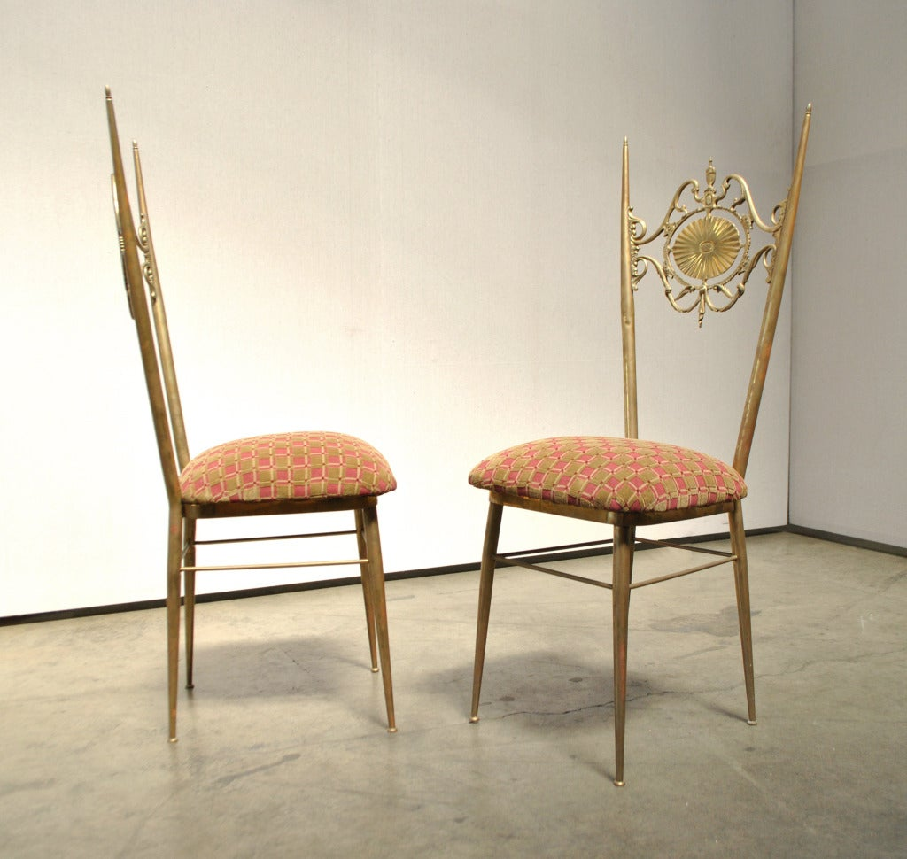 A Pair Of Ornate Italian Side Chairs. ITA. C. 1950s. These Slender