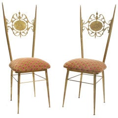 A Pair of 1960s Ornate Italian Side Chairs