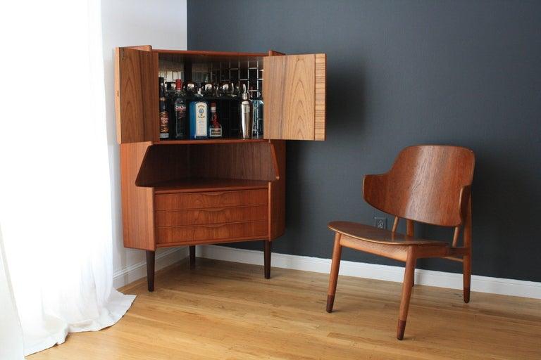 Danish modern teak corner bar cabinet by omann jun at 1stdibs