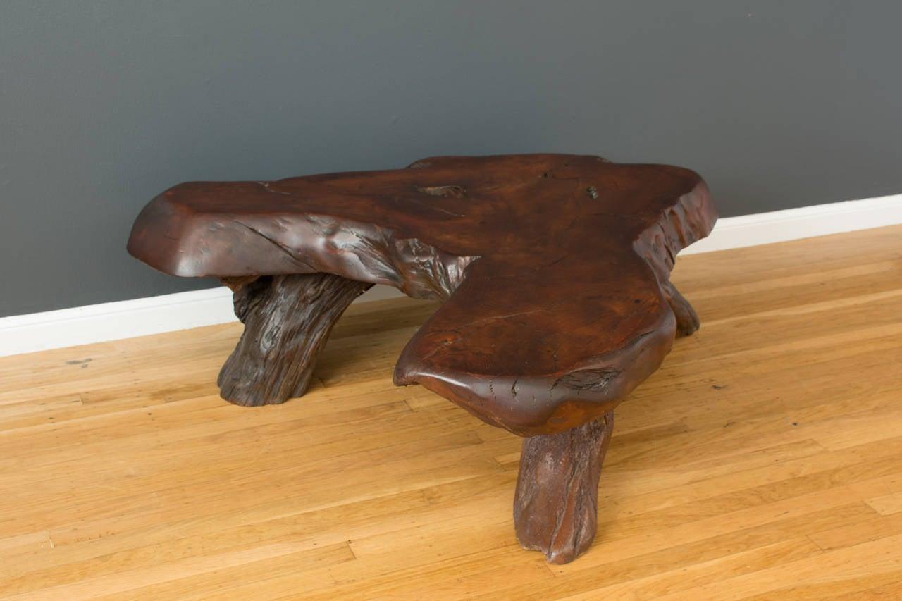 Vintage redwood slab coffee table at 1stdibs for Slab coffee table