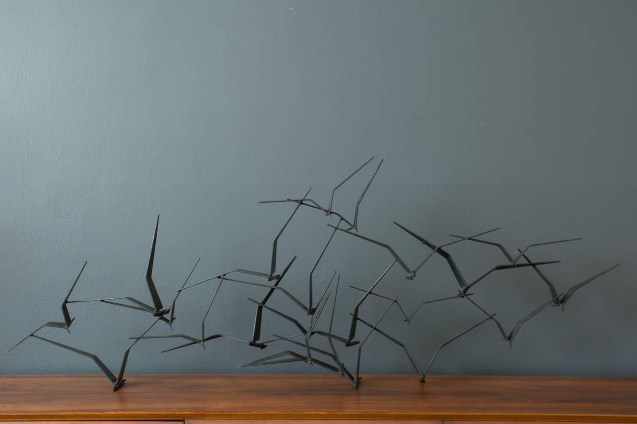 Vintage Mid-Century 'Birds In Flight' Metal Wall Sculpture