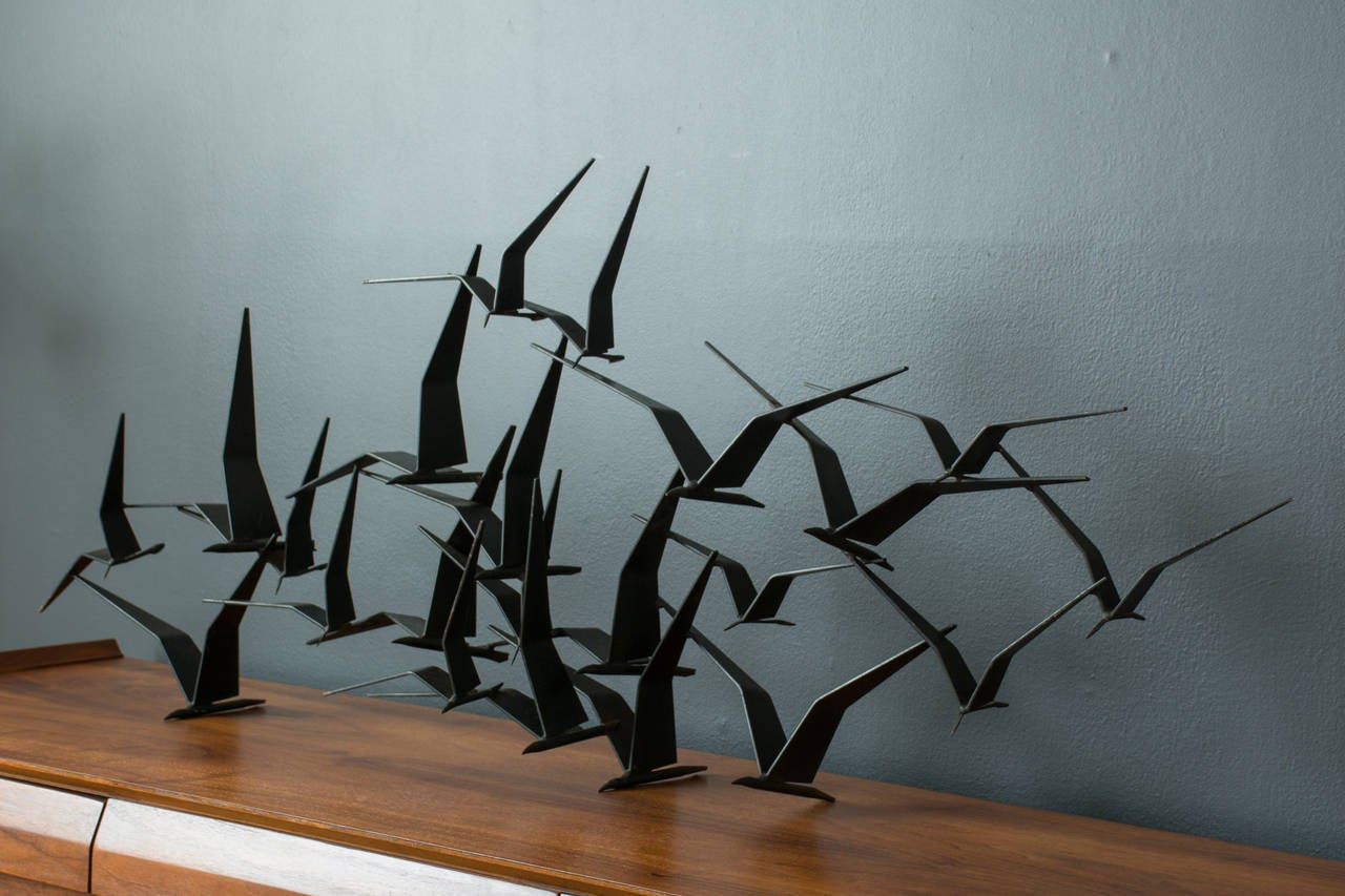 Vintage Mid Century Birds In Flight Metal Wall Sculpture