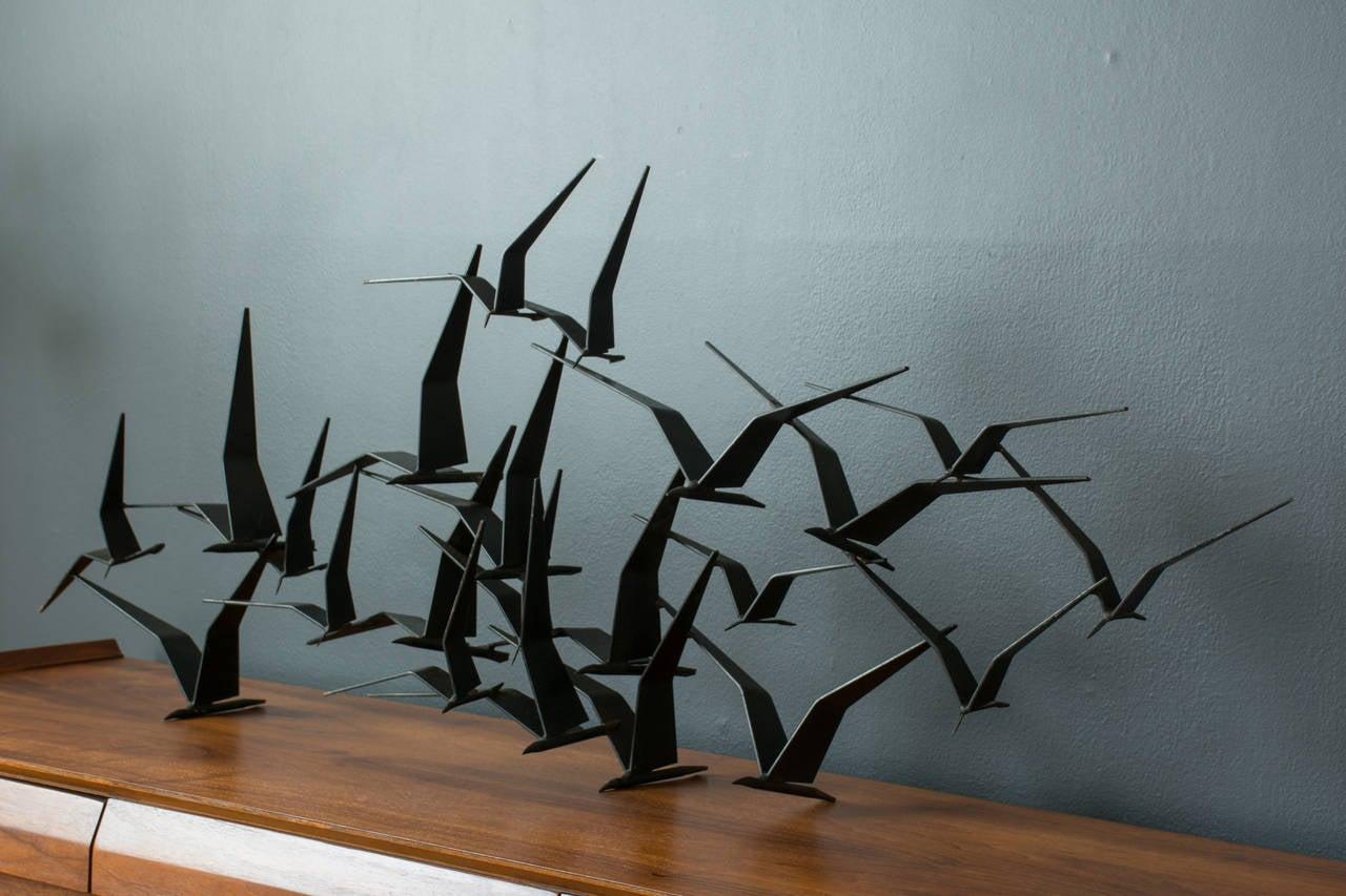 Vintage mid century 39 birds in flight 39 metal wall sculpture for Metalart polen