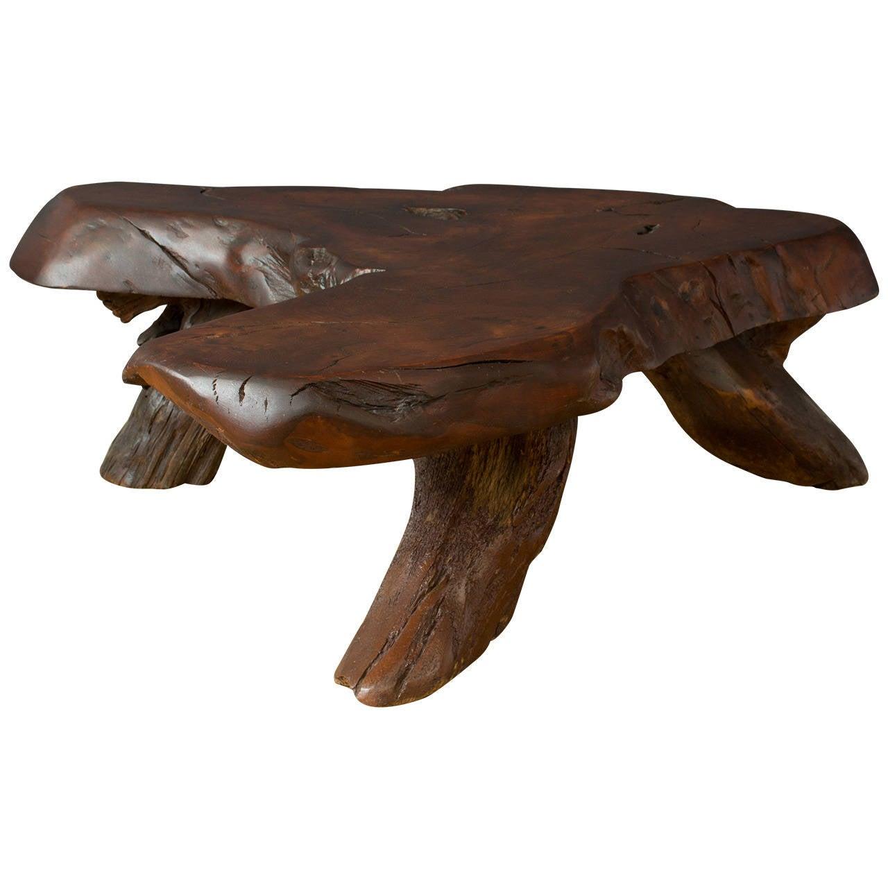 Vintage Burl Wood Slab Coffee Table At 1stdibs: Vintage Redwood Slab Coffee Table At 1stdibs