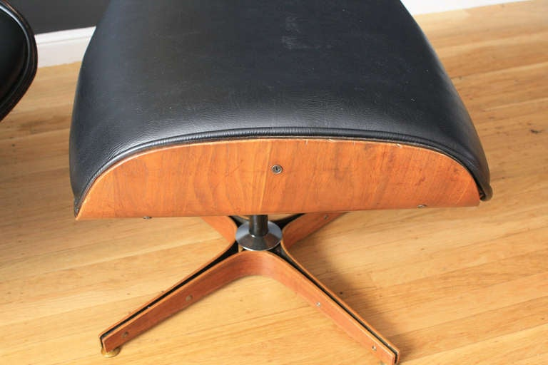 Vintage Plycraft Recliner With Ottoman At 1stdibs