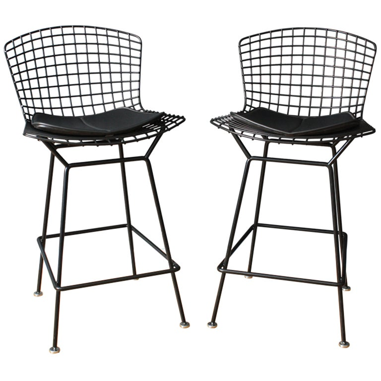 Pair of Vintage Knoll Bar Stools by Harry Bertoia at 1stdibs