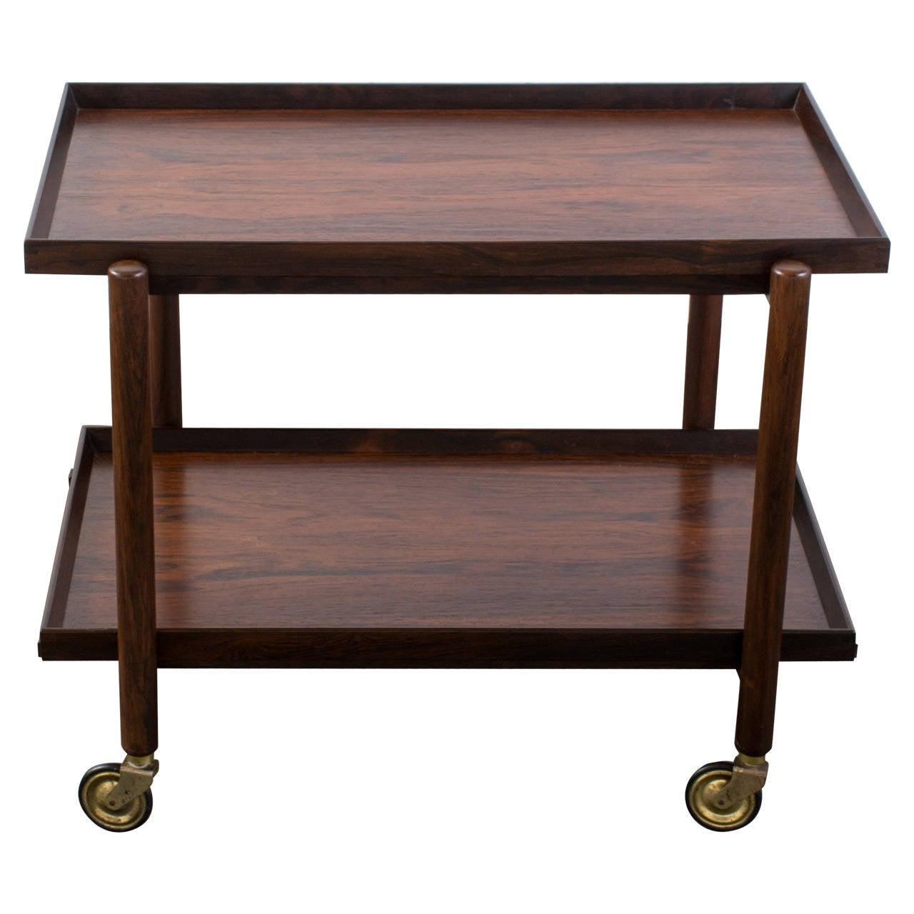 Danish modern rosewood bar cart by poul hundevad at 1stdibs for Modern bar furniture