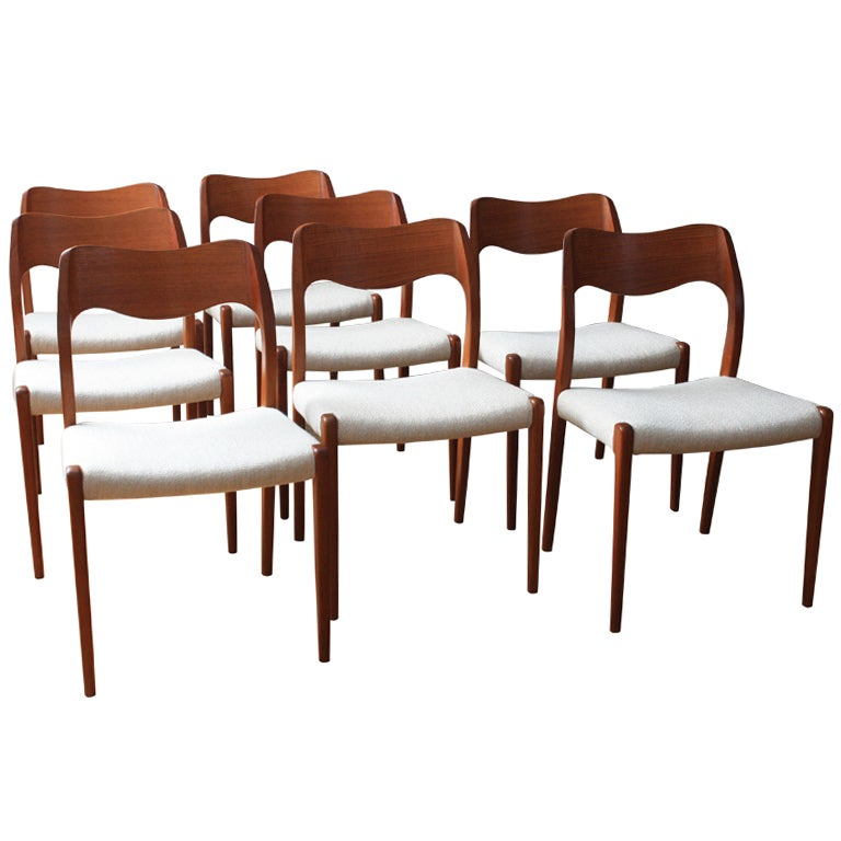 Set Of Eight Danish Modern Moller Dining Chairs At 1stdibs