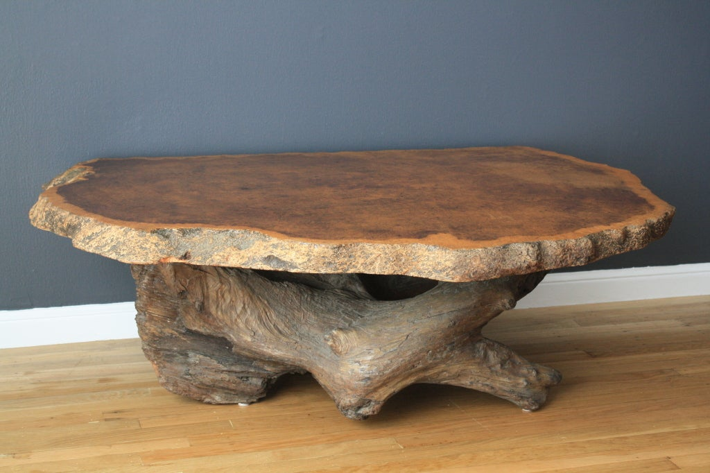 Vintage burl wood slab coffee table at 1stdibs for Oak slab coffee table