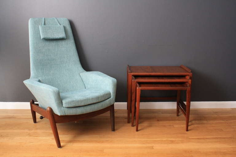 Danish modern recliner and ottoman by ib kofod larsen at - Fauteuil vintage scandinave ...