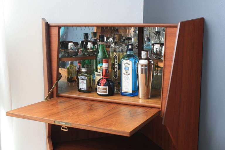 Danish Modern Teak Corner Bar Cabinet At 1stdibs