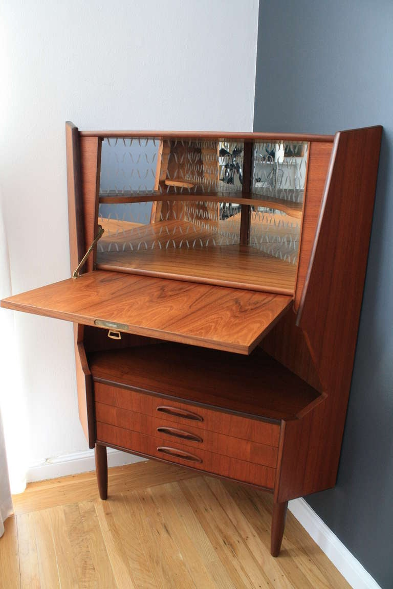 Danish modern teak corner bar cabinet at 1stdibs for Modern teak kitchen cabinets