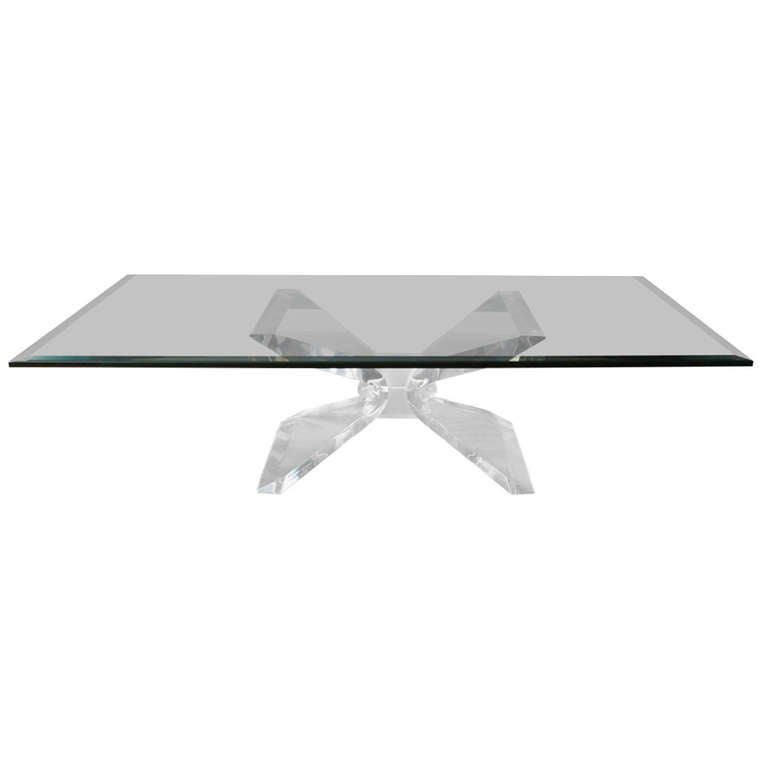 Vintage Lucite And Glass Butterfly Coffee Table At 1stdibs