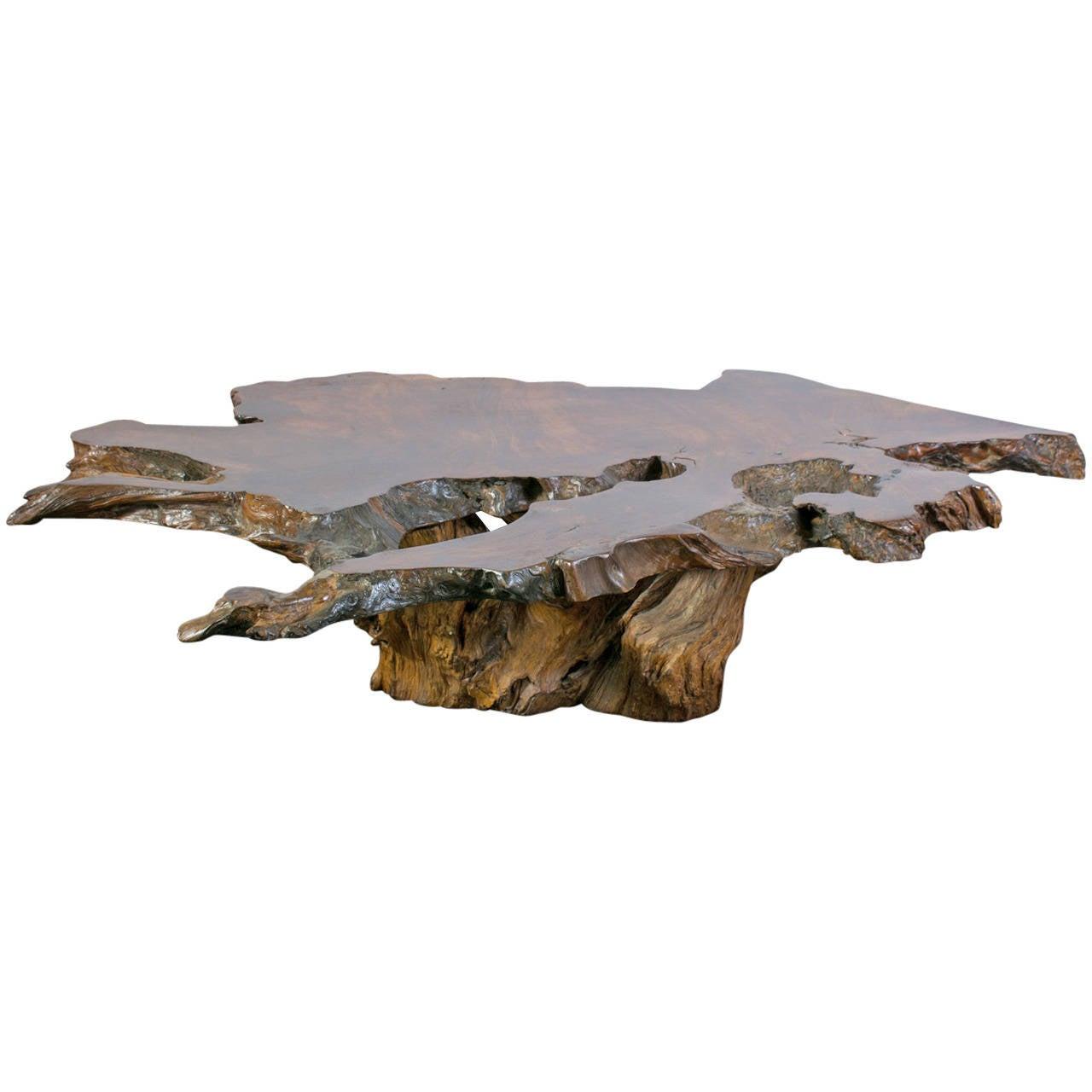 Vintage Wood Slab Coffee Table: Vintage Burl Wood Slab Coffee Table At 1stdibs