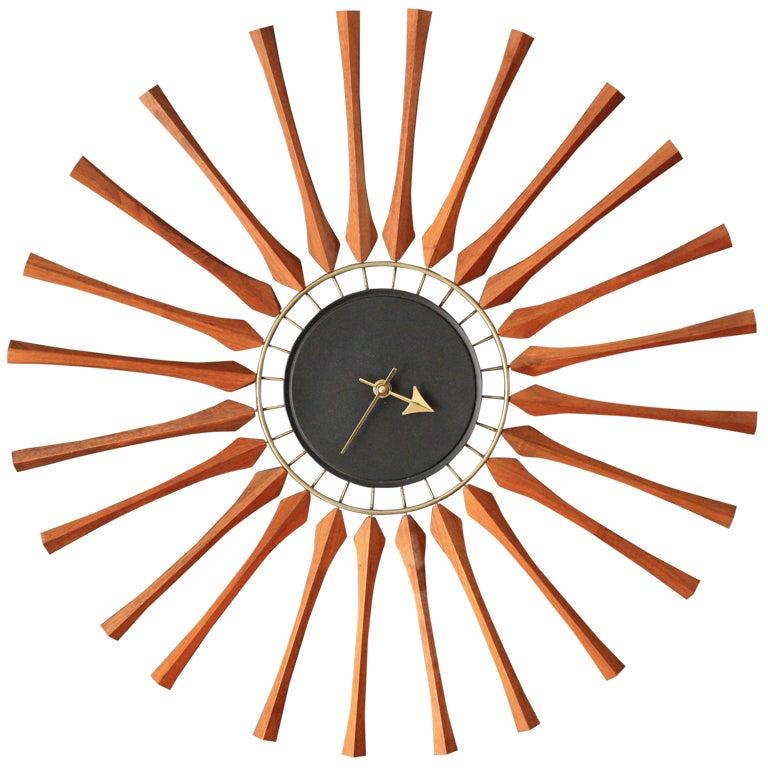mid century modern seth thomas star burst clock at 1stdibs