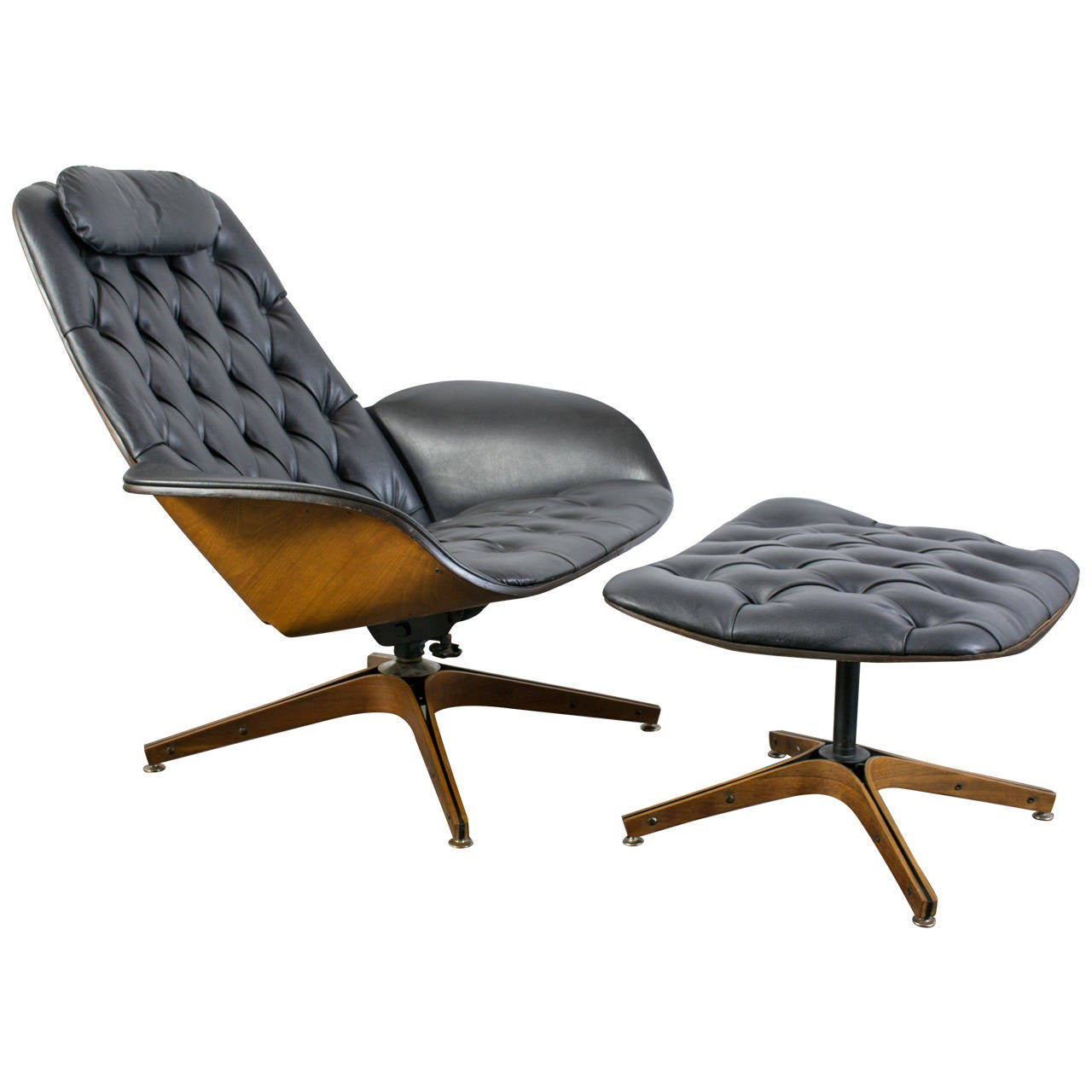 Mid century modern lounge chair and ottoman by george for Modern lounge chair