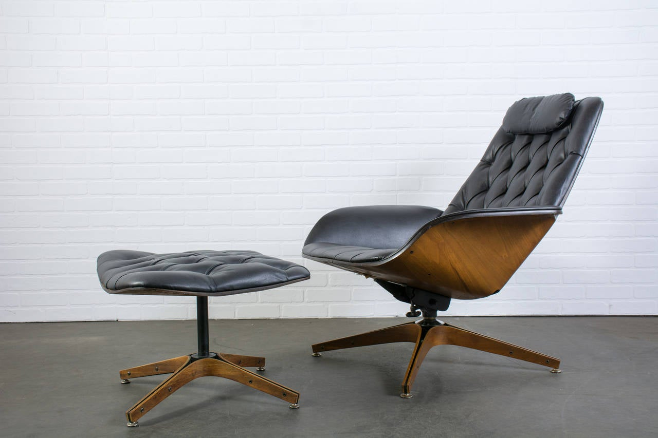 midcentury modern lounge chair and ottoman by george mulhauser  - midcentury modern lounge chair and ottoman by george mulhauser forplycraft