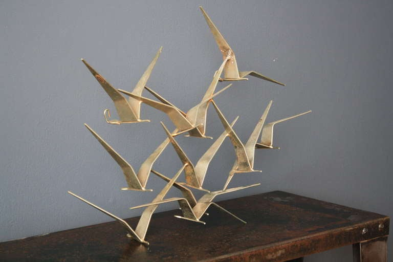 Small Quot Birds In Flight Quot Metal Wall Sculpture By C Jere At