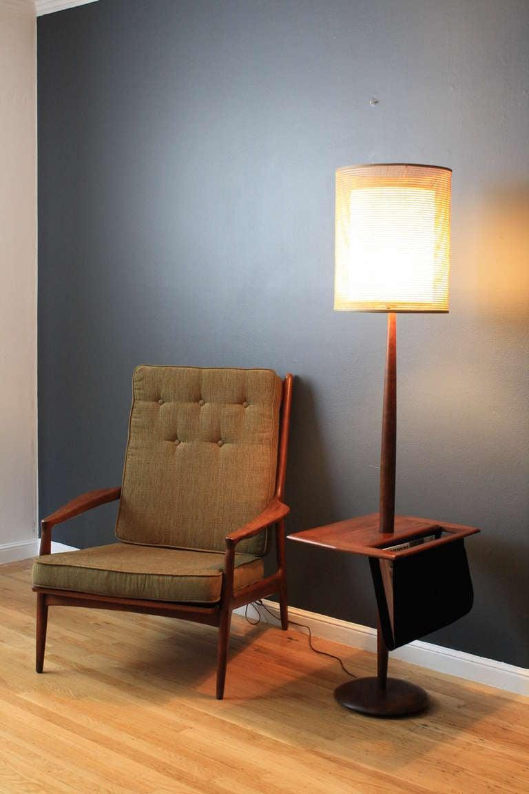 Vintage Floor Lamp With Side Table Mag Rack At 1stdibs