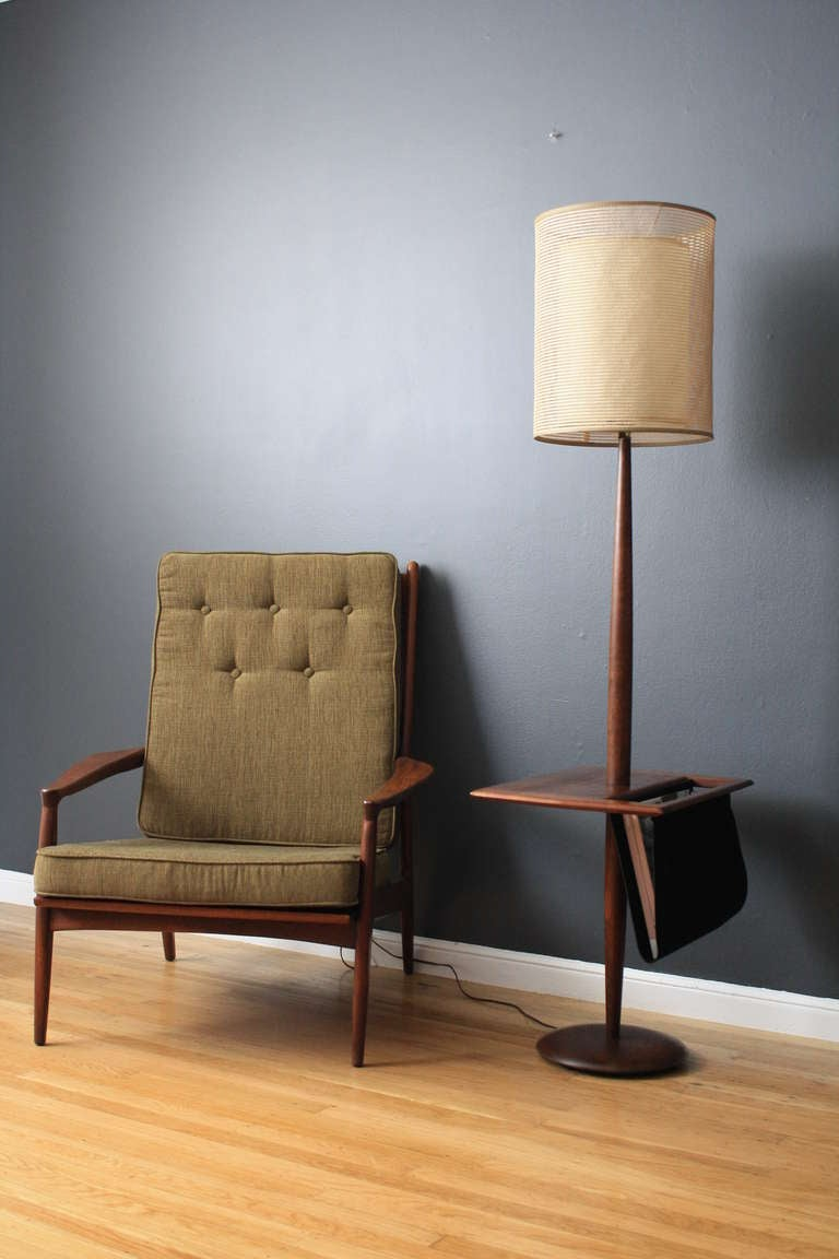 Vintage Floor Lamp With Side Table Mag Rack At 1stdibs