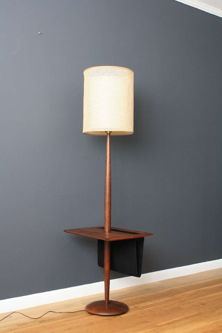 Vintage floor lamp with side table mag rack at 1stdibs for Side and lamp tables