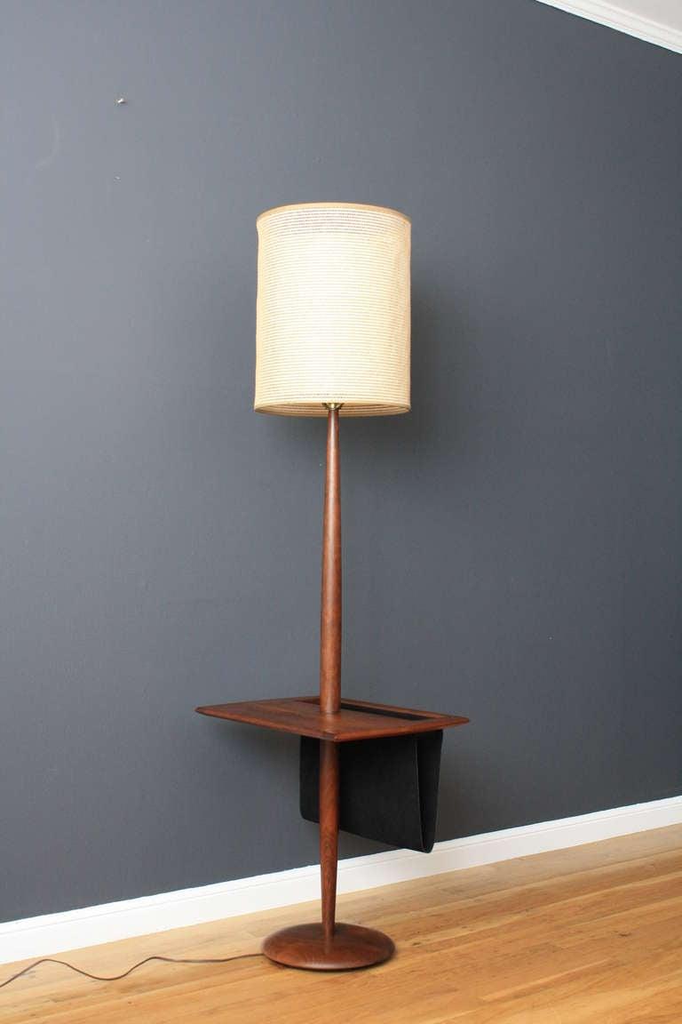 vintage floor lamp with side table mag rack at 1stdibs. Black Bedroom Furniture Sets. Home Design Ideas