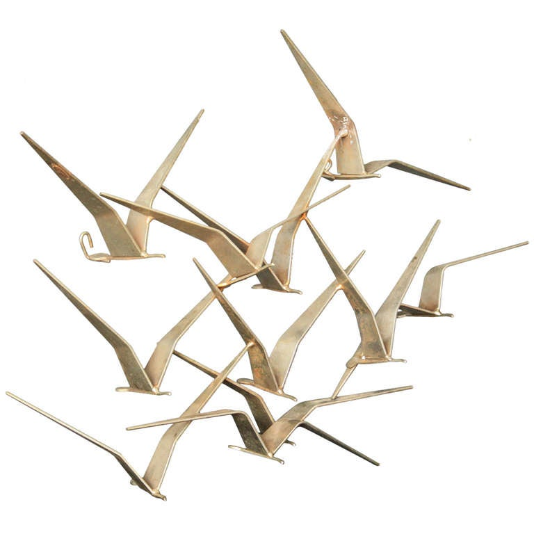 small birds in flight metal wall sculpture by c jere at. Black Bedroom Furniture Sets. Home Design Ideas