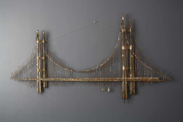 Vintage Mid Century Metal Golden Gate Bridge Wall
