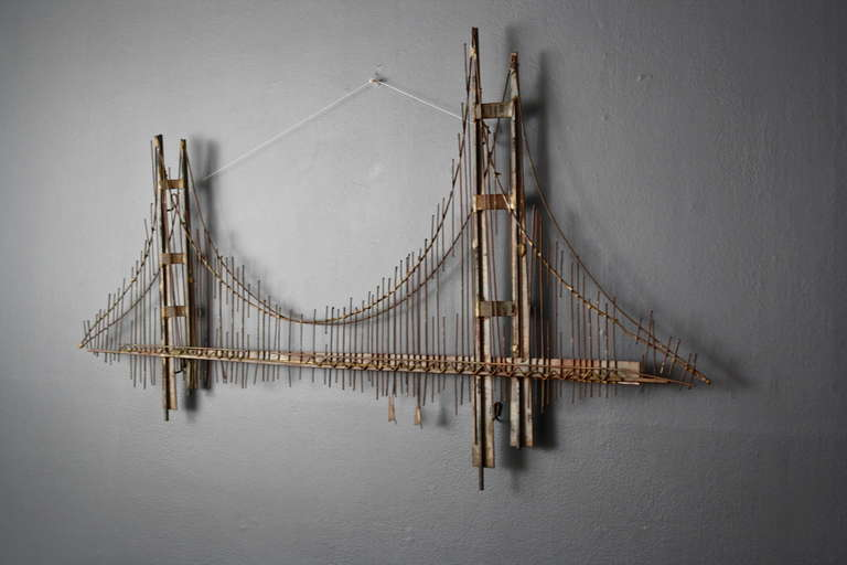 Vintage Mid Century Metal Golden Gate Bridge Wall Sculpture By Curtis