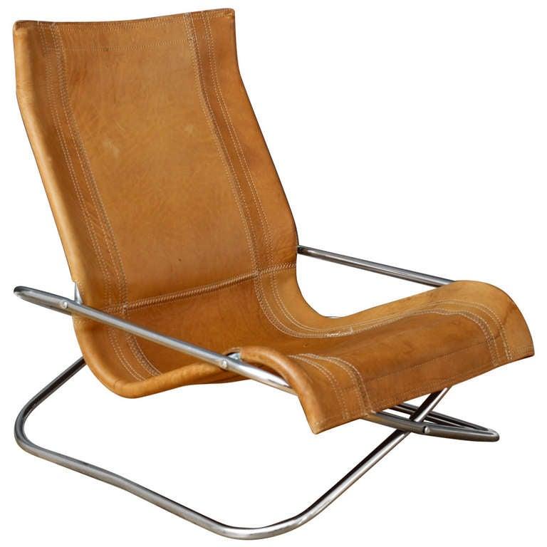 Vintage Mid Century Uchida Leather Lounge Chair at 1stdibs