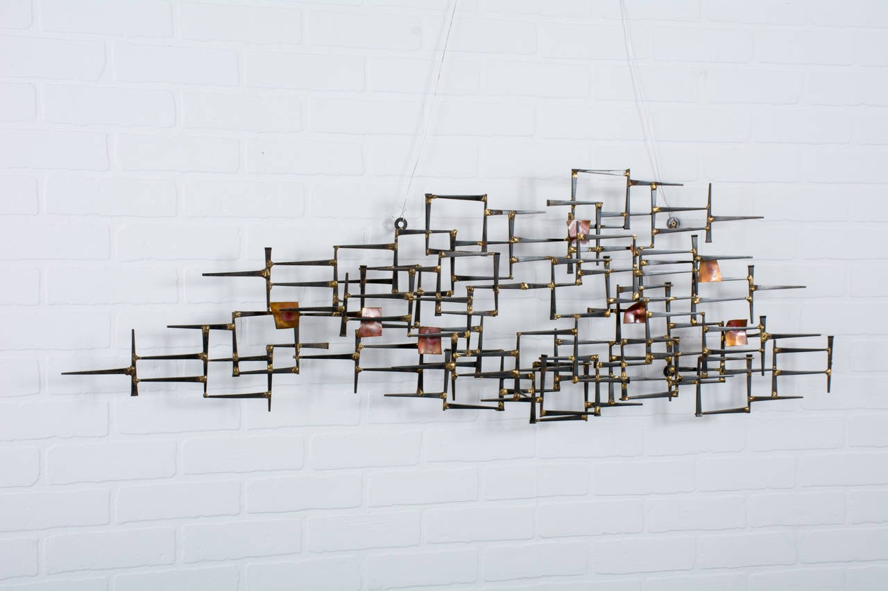 Mid century modern metal wall sculpture at 1stdibs for Brass wall art