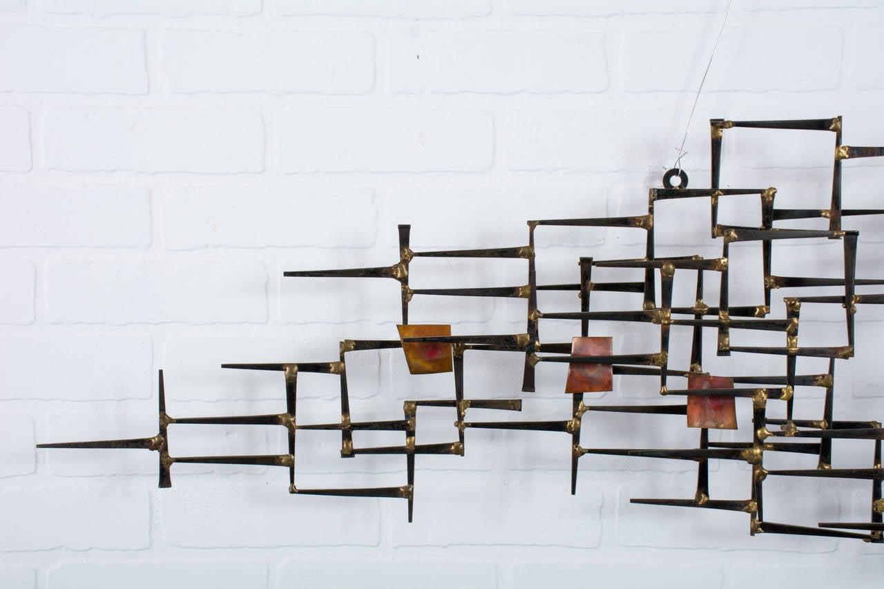Mid Century Modern Metal Wall Sculpture At 1stdibs