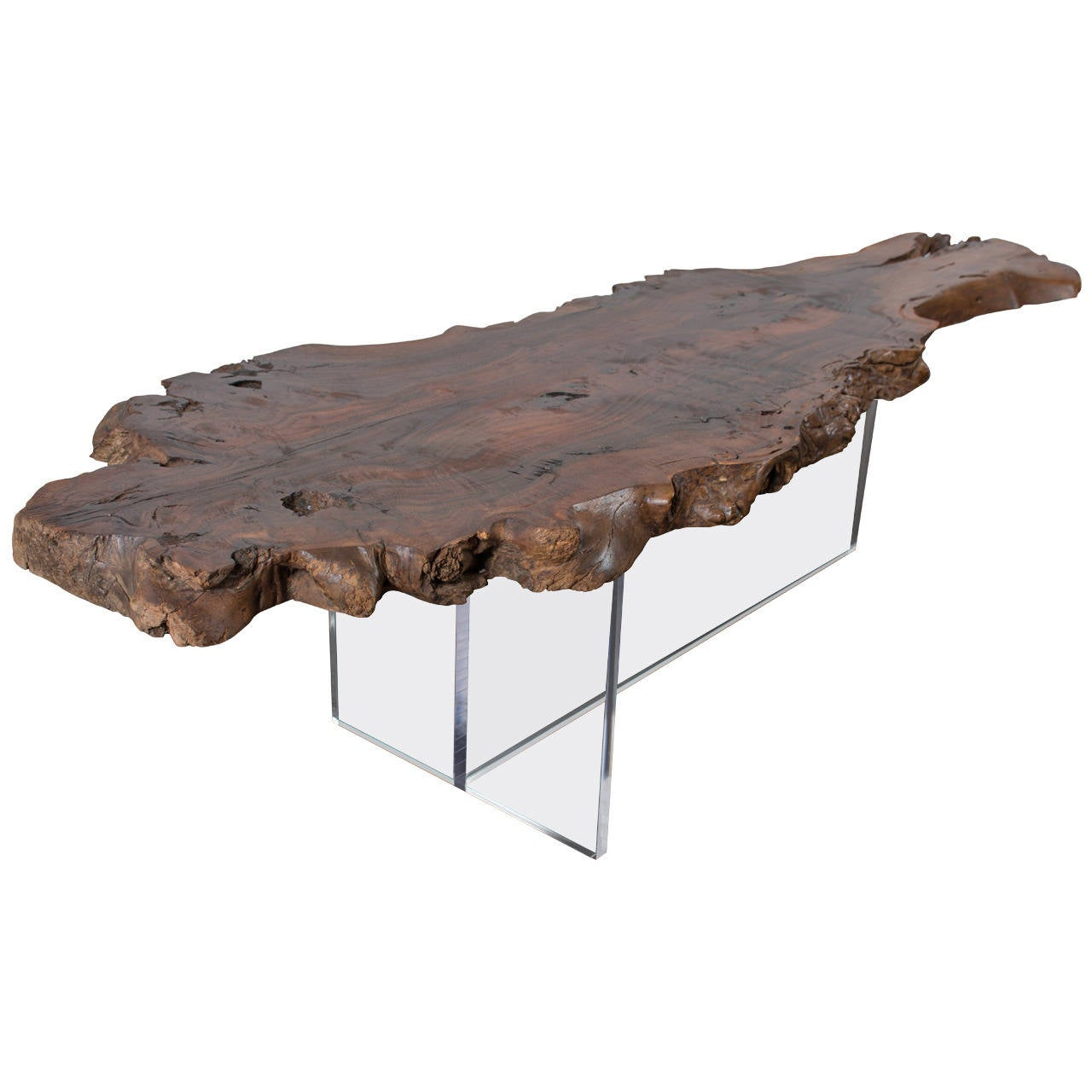 Wood slab and lucite coffee table at 1stdibs for Wood slab coffee table
