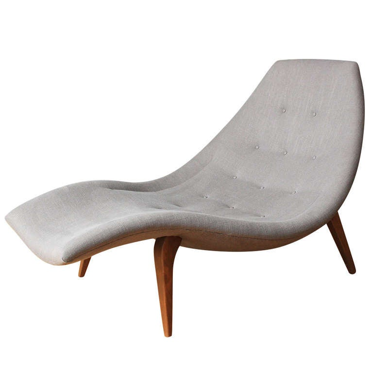 Mid century modern chaise lounge in the style of adrian for Century furniture chaise lounge