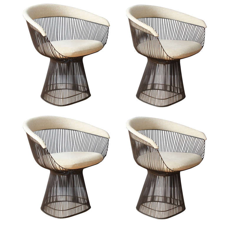 of four vintage bronze chairs by warren platner for knoll at 1stdibs