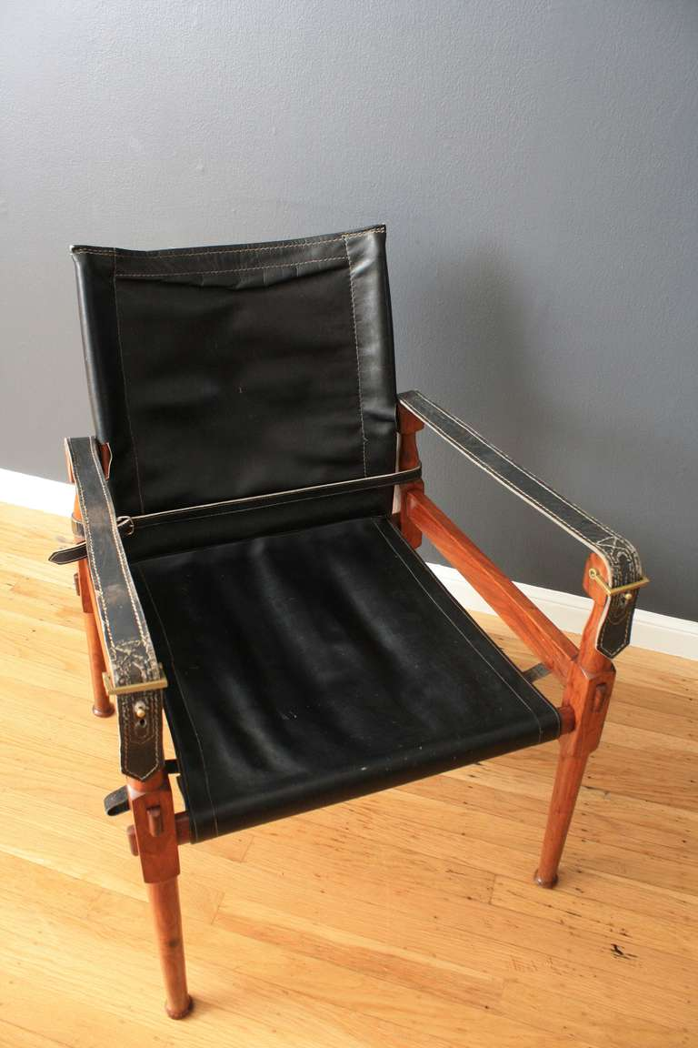 Scandinavian Modern Vintage Mid Century Safari Chair With Ottoman For Sale