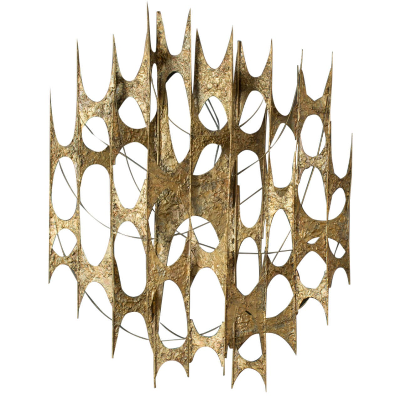 Mid Century Modern Gold Metal Wall Sculpture At 1stdibs