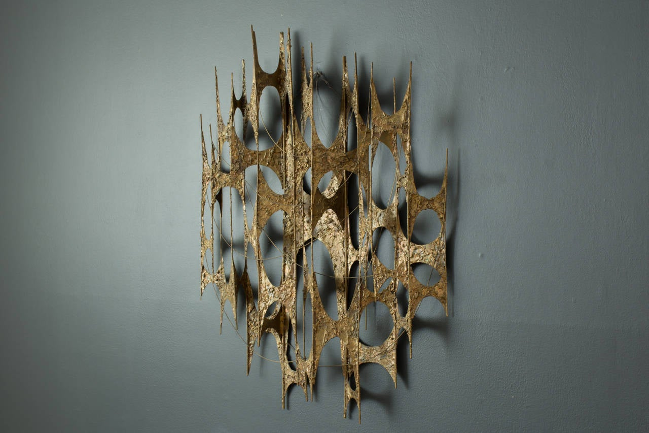 Mid-Century Modern Gold Metal Wall Sculpture At 1stdibs